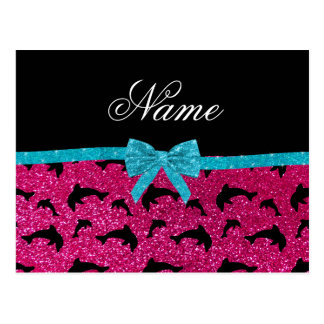 Custom name neon hot pink glitter dolphins bow post cards
