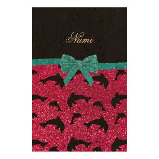 Custom name neon hot pink glitter dolphins bow cork fabric