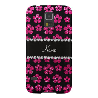 Custom name neon hot pink glitter flowers galaxy s5 case