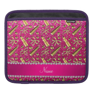 Custom name neon hot pink glitter gold lipstick sleeves for iPads