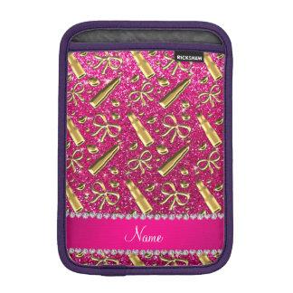 Custom name neon hot pink glitter gold lipstick iPad mini sleeves