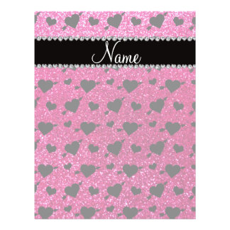 Custom name neon hot pink glitter hearts arrows full color flyer