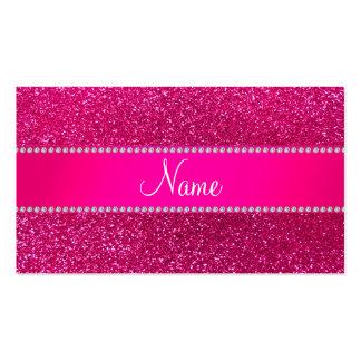 Custom name neon hot pink glitter hot pink stripe business card