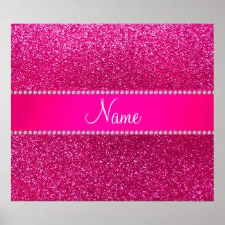 Custom name neon hot pink glitter hot pink stripe poster