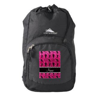Custom name neon hot pink glitter lacrosse players backpack