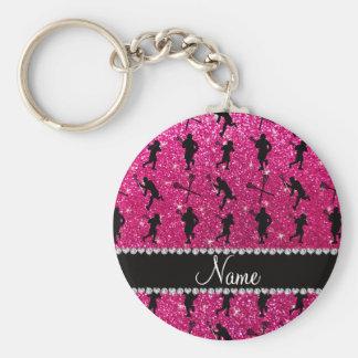 Custom name neon hot pink glitter lacrosse players keychain