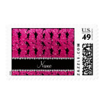 Custom name neon hot pink glitter lacrosse players postage stamp
