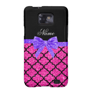 Custom name neon hot pink glitter moroccan bow galaxy s2 case