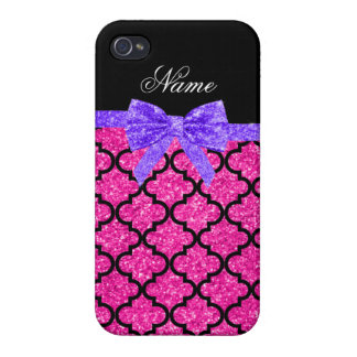 Custom name neon hot pink glitter moroccan bow iPhone 4/4S cases