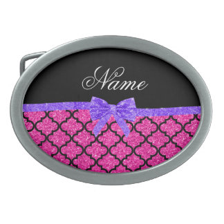 Custom name neon hot pink glitter moroccan bow oval belt buckles