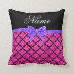 Custom name neon hot pink glitter moroccan bow throw pillows
