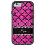 Custom name neon hot pink glitter moroccan iPhone 6 case
