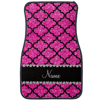 Custom name neon hot pink glitter moroccan floor mat