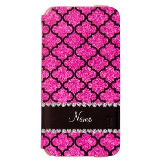 Custom name neon hot pink glitter moroccan incipio watson™ iPhone 6 wallet case
