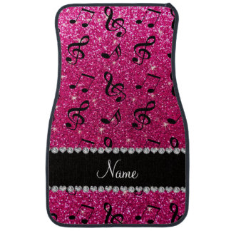 Custom name neon hot pink glitter music notes car floor mat