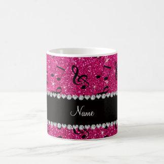 Custom name neon hot pink glitter music notes coffee mug