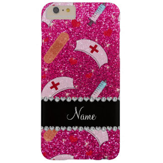 Custom name neon hot pink glitter nurse hats heart barely there iPhone 6 plus case