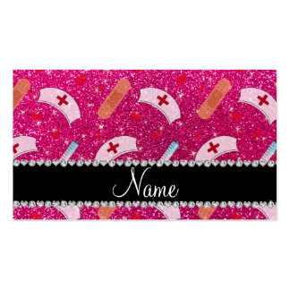 Custom name neon hot pink glitter nurse hats heart business card