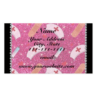 Custom name neon hot pink glitter nurse hats heart Double-Sided standard business cards (Pack of 100)