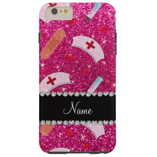 Custom name neon hot pink glitter nurse hats heart tough iPhone 6 plus case