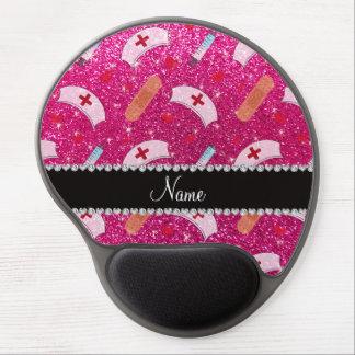 Custom name neon hot pink glitter nurse hats heart gel mouse pad
