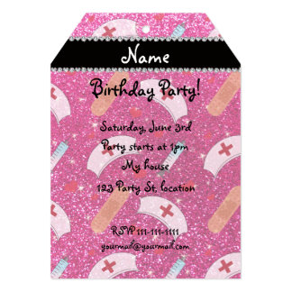 Custom name neon hot pink glitter nurse hats heart personalized announcement cards