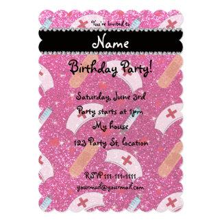 Custom name neon hot pink glitter nurse hats heart personalized invitation cards