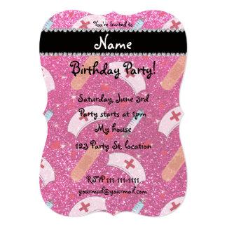 Custom name neon hot pink glitter nurse hats heart customized announcement card