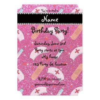 Custom name neon hot pink glitter nurse hats heart announcement cards