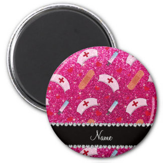 Custom name neon hot pink glitter nurse hats heart 2 inch round magnet