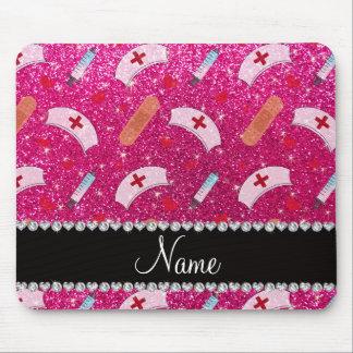 Custom name neon hot pink glitter nurse hats heart mouse pad