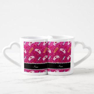 Custom name neon hot pink glitter nurse hats heart couples' coffee mug set