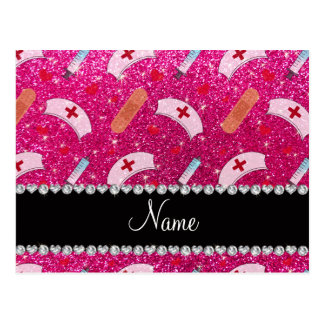 Custom name neon hot pink glitter nurse hats heart postcard