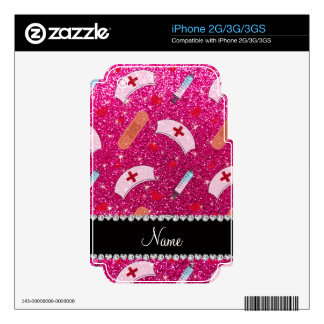 Custom name neon hot pink glitter nurse hats heart skins for the iPhone 2G