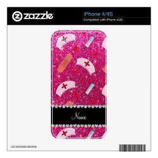 Custom name neon hot pink glitter nurse hats heart skins for iPhone 4S