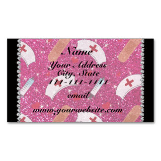 Custom name neon hot pink glitter nurse hats heart magnetic business cards