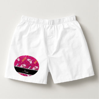 Custom name neon hot pink glitter nurse hats heart boxers