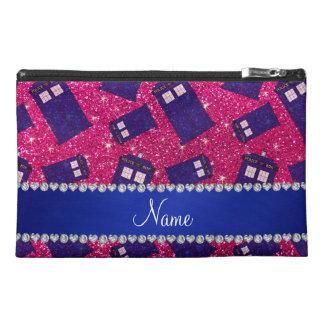 Custom name neon hot pink glitter police box travel accessory bag