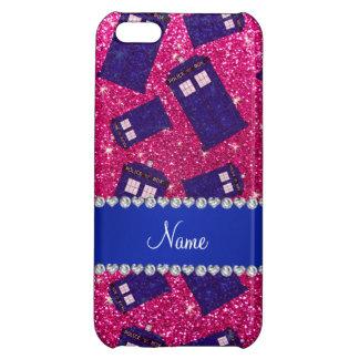 Custom name neon hot pink glitter police box iPhone 5C case