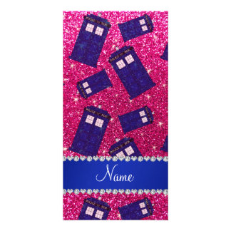 Custom name neon hot pink glitter police box picture card