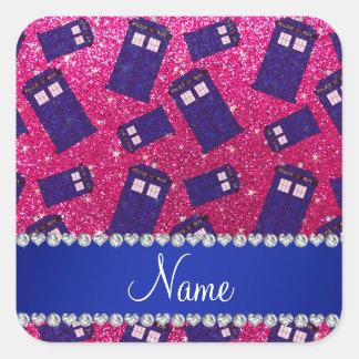 Custom name neon hot pink glitter police box square sticker