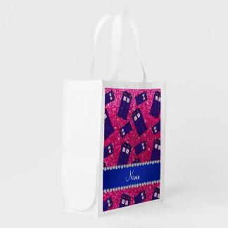 Custom name neon hot pink glitter police box reusable grocery bag