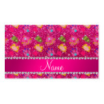 Custom name neon hot pink glitter princess frogs business card