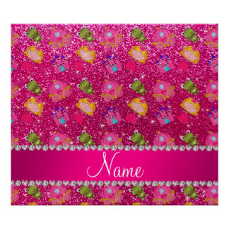 Custom name neon hot pink glitter princess frogs poster