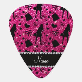 Custom name neon hot pink glitter shopping pattern guitar pick