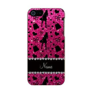Custom name neon hot pink glitter shopping pattern incipio feather® shine iPhone 5 case
