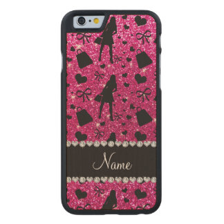 Custom name neon hot pink glitter shopping pattern carved® maple iPhone 6 case