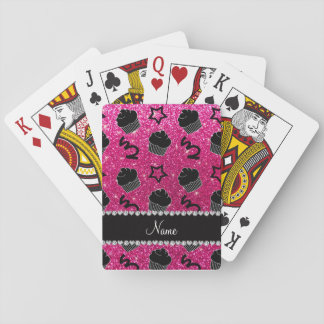 Custom name neon hot pink glitter stars cupcakes playing cards