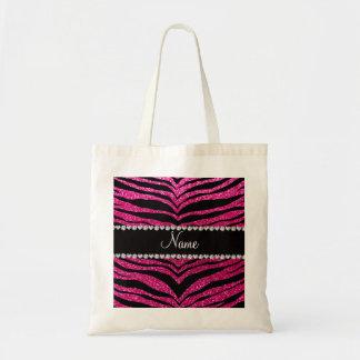 Custom name neon hot pink glitter tiger stripes canvas bag