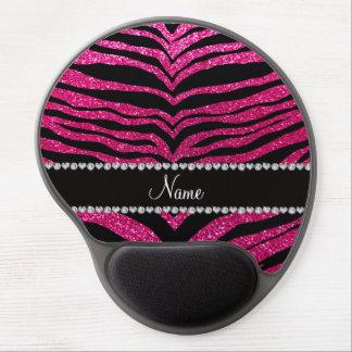 Custom name neon hot pink glitter tiger stripes gel mousepad